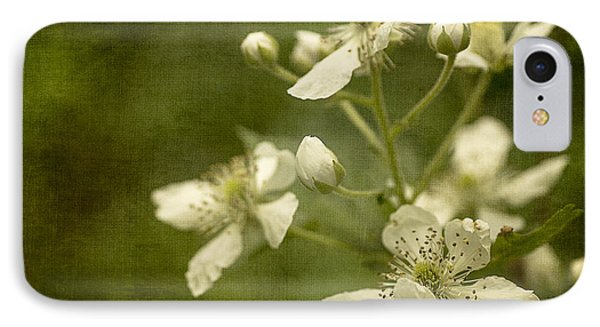 Blackberry Flowers With Textures IPhone Case by Wayne Meyer