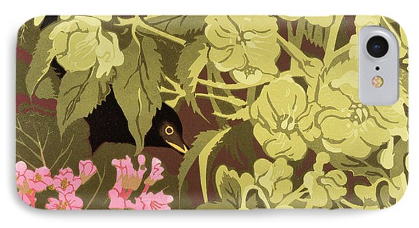 Blackbird In The Hellebores Phone Case by Carol Walklin