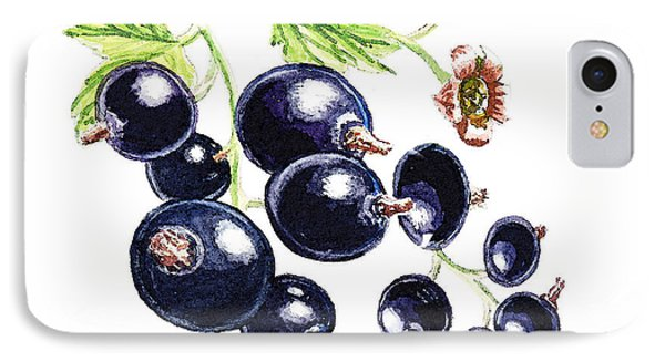 IPhone 7 Case featuring the painting Blackcurrant Berries  by Irina Sztukowski