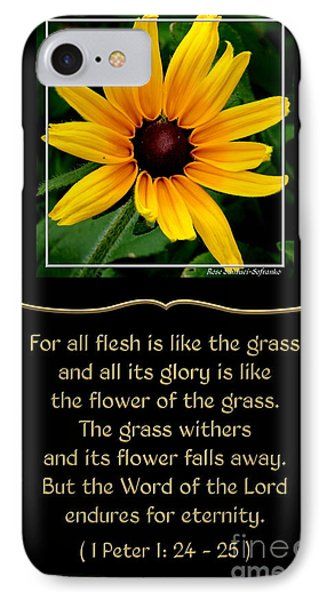Blackeyed Susan With Bible Quote From 1 Peter Phone Case by Rose Santuci-Sofranko