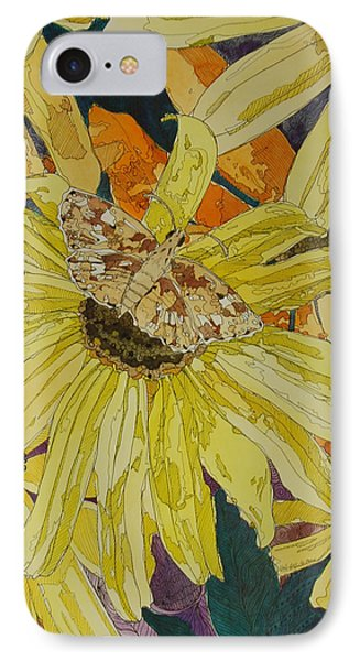 Blackeyed Susans And Butterfly Phone Case by Terry Holliday