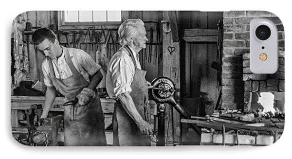 Blacksmith And Apprentice 2 Bw Phone Case by Steve Harrington