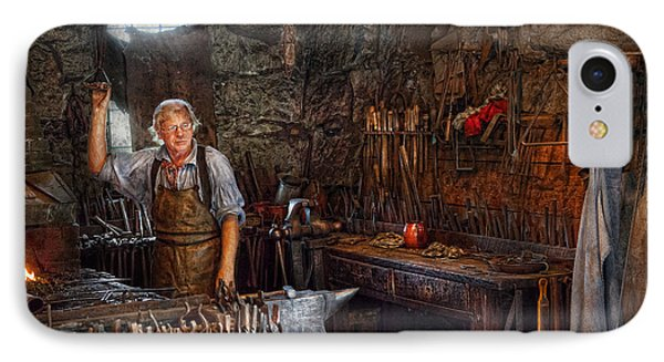 Blacksmith - Working The Forge  Phone Case by Mike Savad