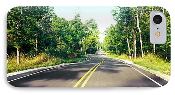 Blacktop Asphalt Curving Highway, Route IPhone Case by Panoramic Images