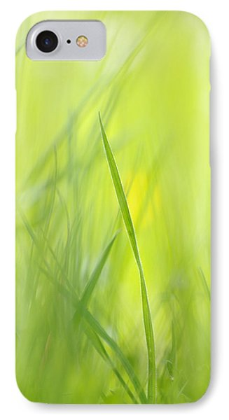 Blades Of Grass - Green Spring Meadow - Abstract Soft Blurred IPhone Case by Matthias Hauser