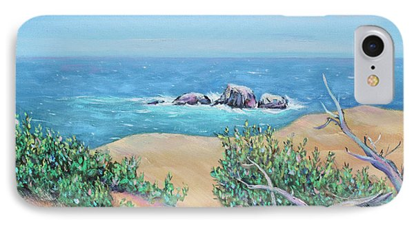 IPhone Case featuring the painting Bleached Cedar And Ocean Rocks by Asha Carolyn Young
