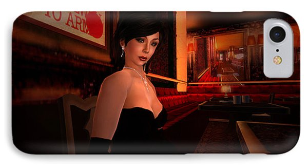IPhone Case featuring the digital art Blind Date In A Paris Restaurant 1920s by Kylie Sabra
