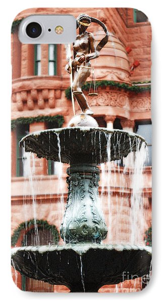 Blind Naked Justice Statue With Scales Atop Fountain San Antonio Texas Diffuse Glow Digital Art IPhone Case by Shawn O'Brien