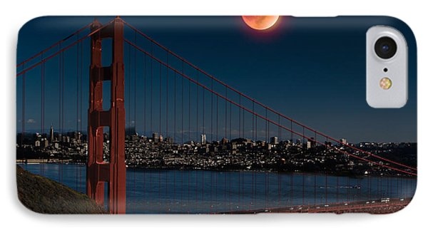 Blood Moon Over Golden Gate Bridge Phone Case by Dan Hartford