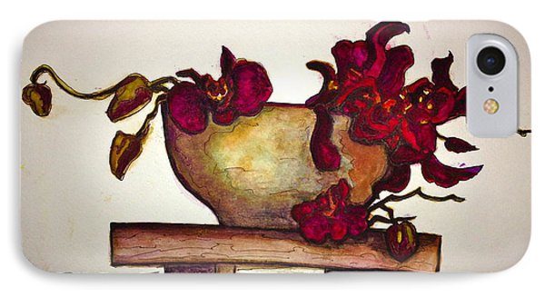 IPhone Case featuring the painting Bloody Orchids by Rae Chichilnitsky