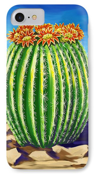 IPhone Case featuring the painting Blooming Barrel Cactus by Tim Gilliland