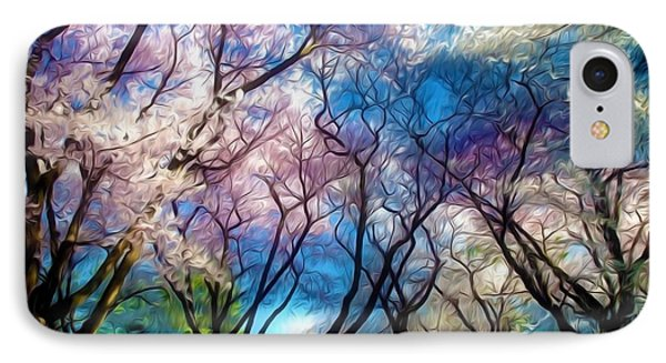 Blossom Cherry Trees Over Spring Sky IPhone Case by Lanjee Chee