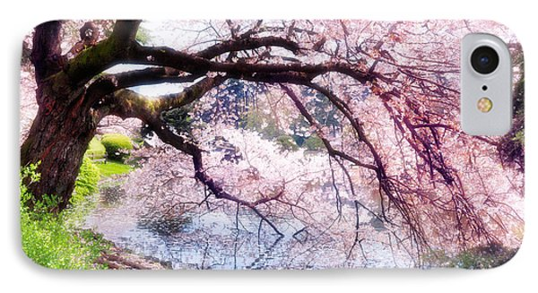 Blossoming Cherry Tree Touching Water IPhone Case by Oleksiy Maksymenko