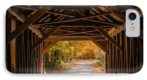 Blow-me-down Covered Bridge Cornish New Hampshire IPhone Case by Edward Fielding