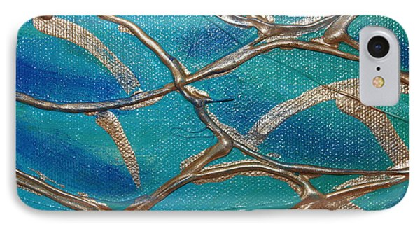 Blue And Gold Abstract IPhone Case by Cynthia Snyder