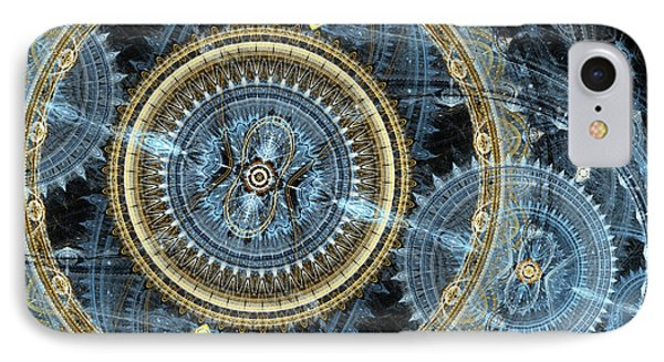 Blue And Gold Mechanical Abstract Phone Case by Martin Capek