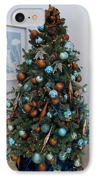 IPhone Case featuring the photograph Blue And Gold Xmas Tree by Richard Reeve