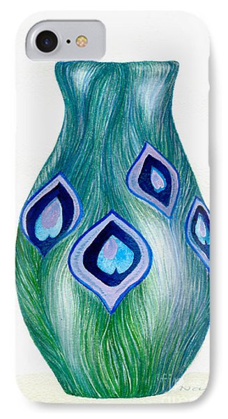 IPhone Case featuring the painting Blue And Green Peacock Vase by Nan Wright
