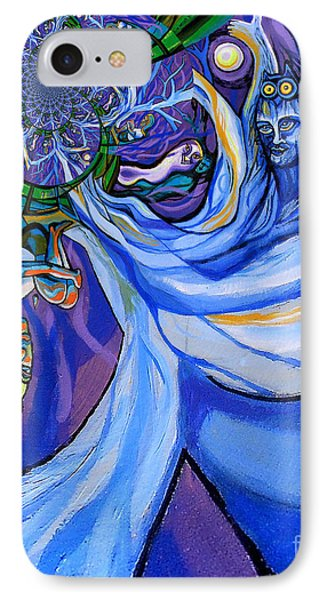 Blue And Purple Girl With Tree And Owl Upside Down IPhone Case