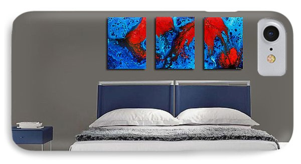 Blue And Red Abstract Hung As A Triptych IPhone Case by Sharon Cummings