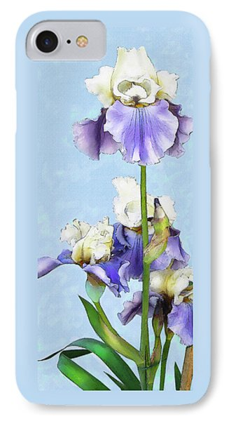 IPhone Case featuring the digital art Blue And White Iris by Jane Schnetlage