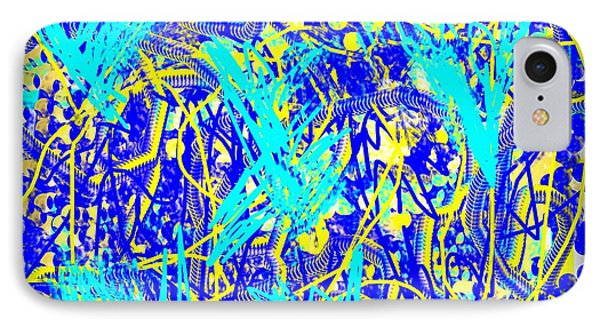 Blue And Yellow Abstract IPhone Case by Jessica Wright