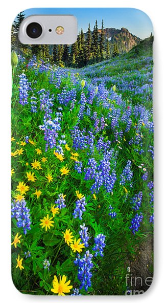 Blue And Yellow Hillside IPhone Case by Inge Johnsson