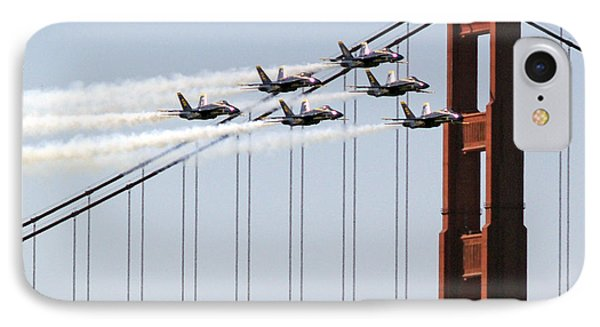 Blue Angels And The Bridge IPhone Case by Bill Gallagher