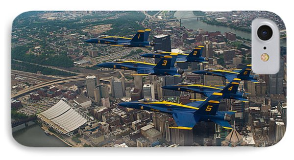 Blue Angels Over Pittsburg IPhone Case by Specialist 2nd Class Kathryn E Macdonald