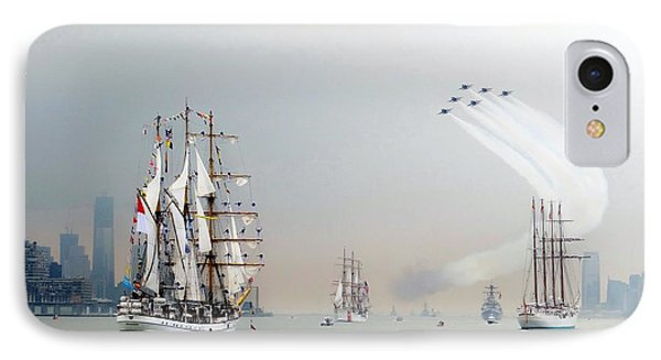 Blue Angels Over Ships N.y.c. Phone Case by Ed Weidman