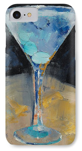 Blue Art Martini IPhone 7 Case by Michael Creese