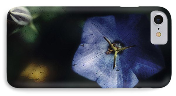 IPhone Case featuring the photograph Blue Balloon Flower In The Shadows by Louise Kumpf