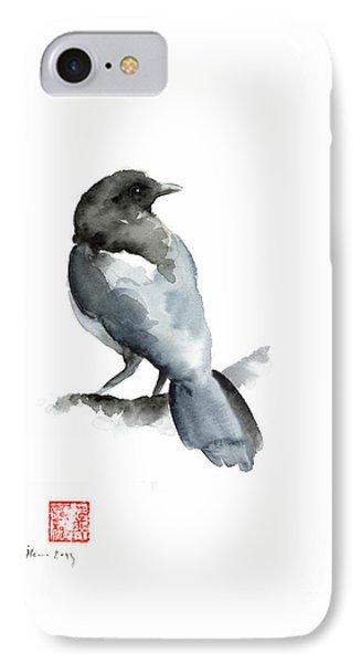 Blue Bird Grey Black Crow Silver Winter Scenery Landscape Watercolor Painting IPhone Case by Johana Szmerdt