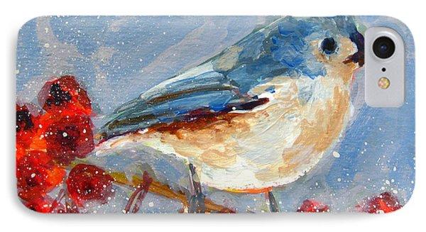 Titmouse iPhone 7 Case - Blue Bird In Winter - Tuft Titmouse Modern Impressionist Art by Patricia Awapara