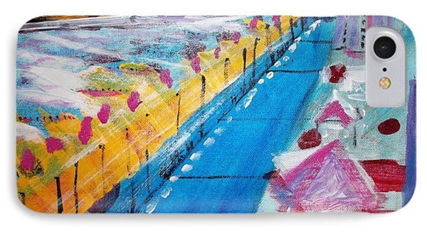 IPhone Case featuring the painting Blue Boardwalk by Leslie Byrne