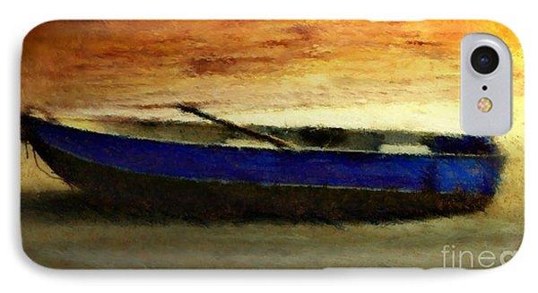Blue Boat At Sunset IPhone Case by Sandra Bauser Digital Art