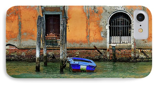 Blue Boat Tied To A Piling. IPhone Case by James David Phenicie