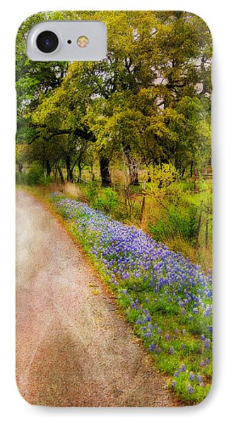 Blue Bonnet Path IPhone Case by Joan Bertucci