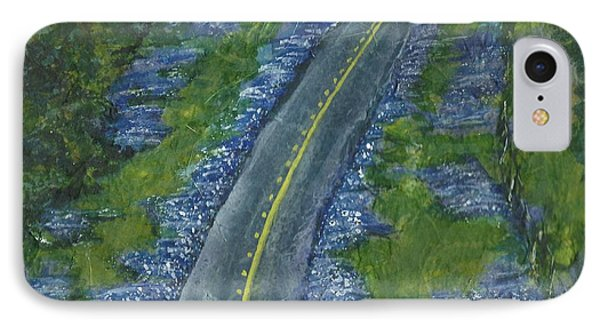 IPhone Case featuring the painting Blue Bonnet Road by Lynn Babineau