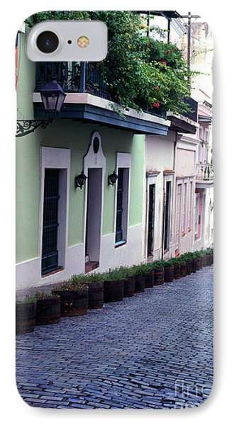 Blue Brick Street Old San Juan Phone Case by Thomas R Fletcher