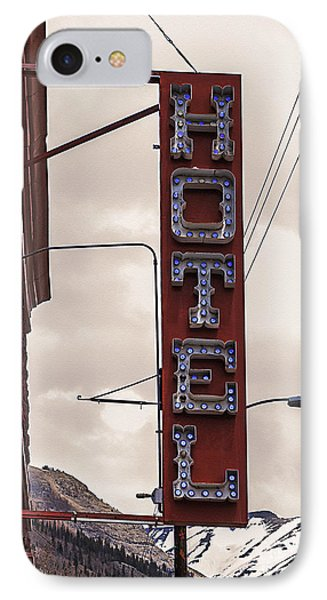 Blue Bulbs Hotel Sign Phone Case by Janice Rae Pariza