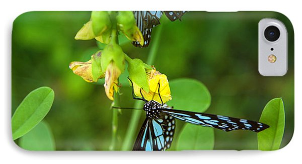 Blue Butterflies In The Green Garden Phone Case by Regina Koch