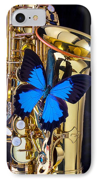 Blue Butterfly On Sax Phone Case by Garry Gay
