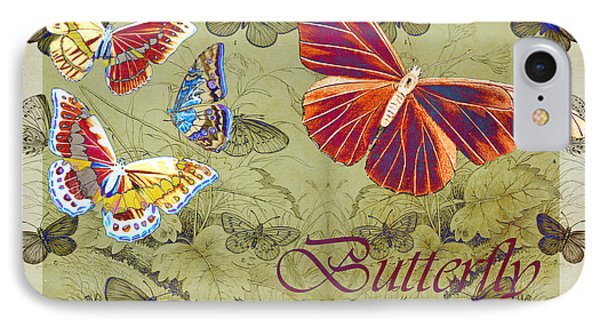 Blue Butterfly - Orange On Green - S02a Phone Case by Variance Collections