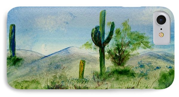 IPhone Case featuring the painting Blue Cactus by Jamie Frier