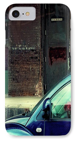 Blue Car On Washington Avenue In Minneapolis IPhone Case by Susan Stone