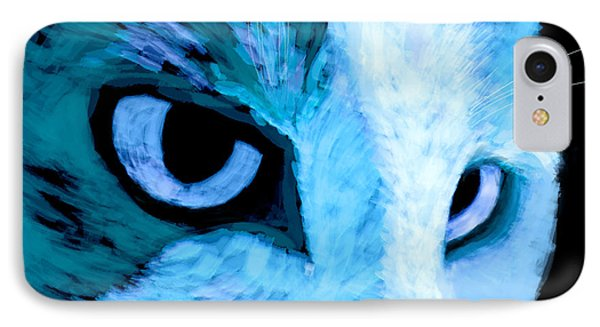 Blue Cat Face Phone Case by Ann Powell