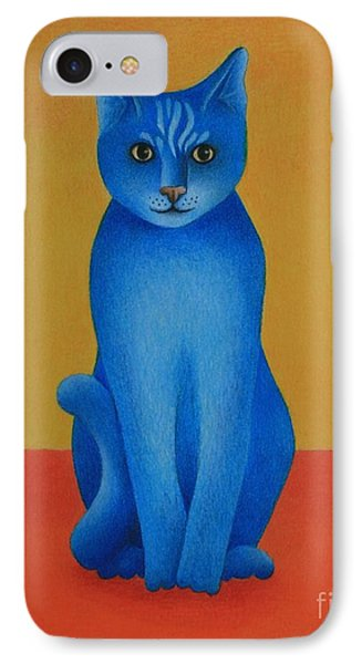IPhone Case featuring the painting Blue Cat by Pamela Clements