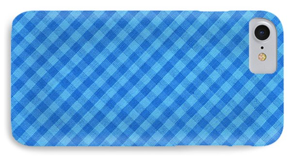 Blue Checkered Diagonal Tablecloth Cloth Background IPhone Case