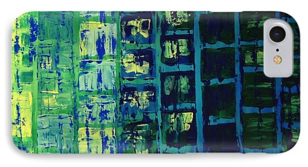 IPhone Case featuring the painting Blue City 2 by Linda Bailey
